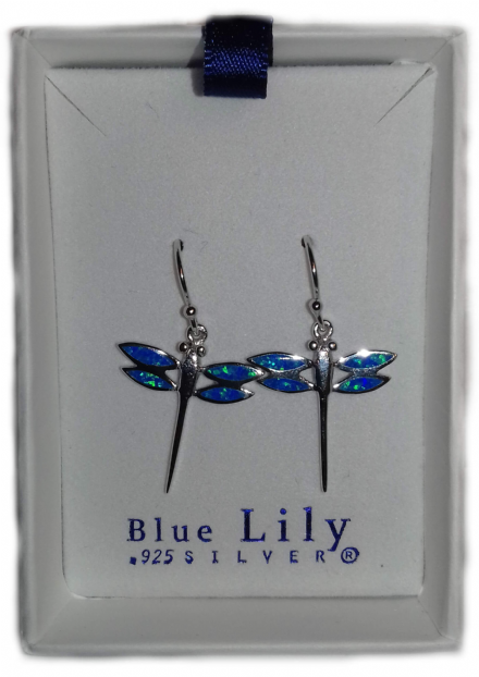 Synthesised Blue Opal Dragonfly Sterling Silver Earrings